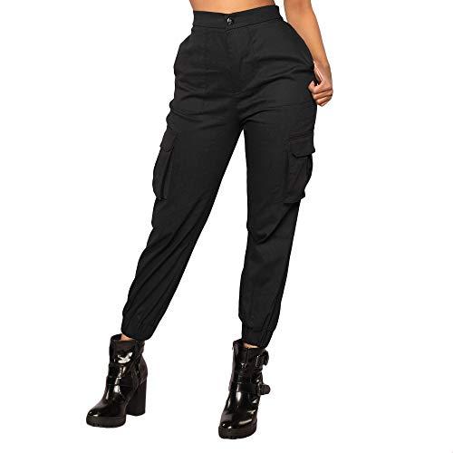 feiXIANG Cargo Hose elastische Taillenhose Vintage Overalls Trousers beiläufige Hose Frauen (Schwarz,L)