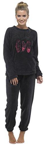 Damen Microfleece Schlafanzug Feder schwarz Uni rosa Snuggle Rundhalsausschnitt lang warm Pyjama Gr. Medium, Black - Pink Feather