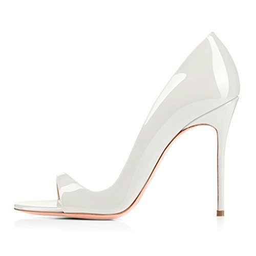 Damen Pumps Sommer Sandalen Peep Toe D'Orsay High-Heels Glitzer Stiletto Weiß EU44 -