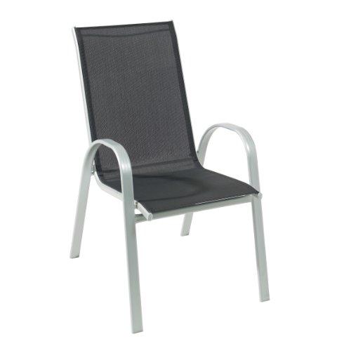 Produktabbildung von greemotion 427620 Stapelsessel Porto niedrig, Stahl, silber/schwarz