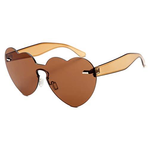 Junecat Frauen-Herz-Form-Sonnenbrille Frameless Transparent-Süßigkeit-Farben-Gläser UV400 Täglich Brillen