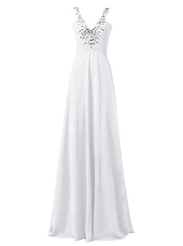 Dresstells Robe de soirée Robe de cérémonie col en V avec bretelles longueur ras du sol Blanc