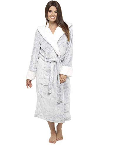 991c089aab CityComfort Luxury Ladies Dressing Gown Soft Plush Bath Robe for Women  Housecoat Loungewear Bathrobe (Grey