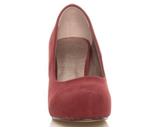 Femmes escarpins talon bas à moyen élégant travail soignée chaussures taille Daim Rouge Foncé