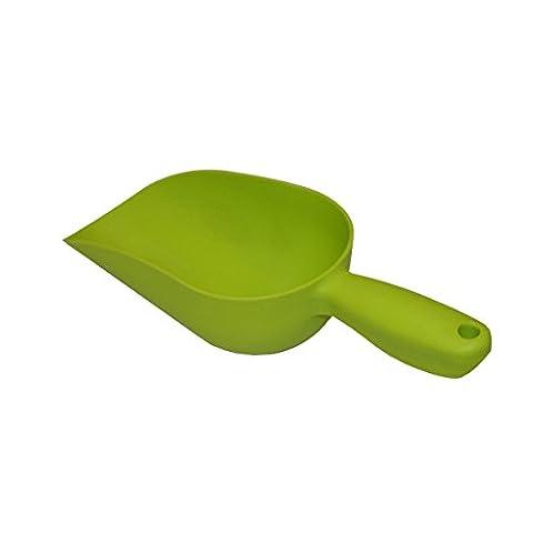 Xclou Sackschaufel in Grün, Futterschaufel aus hochwertigem Kunststoff, Gartenschaufel mit Griff, Handschaufel als Garten-Zubehör und für den Haustier-Bedarf