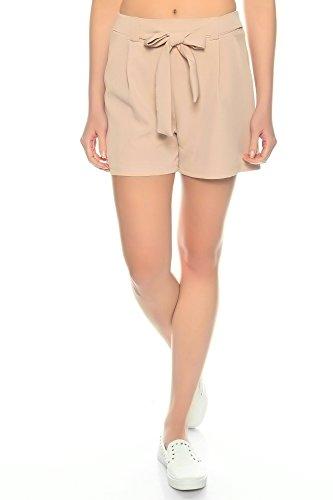 Dress Sheek Damen Elegante Kurze Hose | Crepe Sommer Shorts (Rosa, XL)