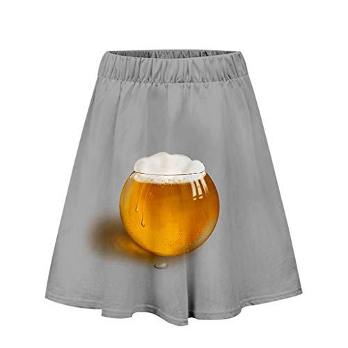 Dasongff Damen Rock, Bierfest Rock Oktoberfest Kurzer Kleid Sexy Beer Drucken Dress 3-D Printed Casual Minikleid Beer Festival Freizeit Faltenrock Oktoberfest Kostüm Karnevalskostüme