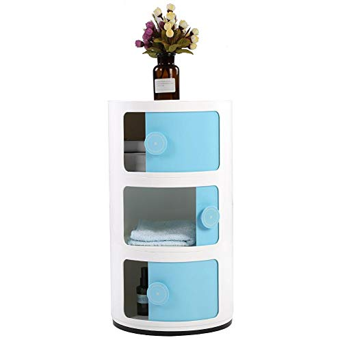 GOTOTOP Container Componibili, 3 Schichten runder Kunststoff Rollcontainer Nachttisch Aufbewahrungsschrank mit Slippng Tür für Badezimmer-Schlafzimmer (Blau)