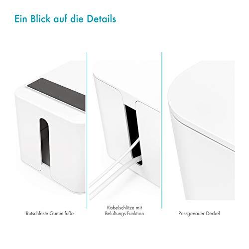 Kabelbox groß weiß I Kabelorganisation zum Verstecken von Kabelsalat und Steckdosenleisten I Schutz für Kinder und Haustiere, Schreibtisch-Organizer I Kunststoffbox Kabel-Box I weiß