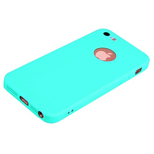 Cover per iPhone 5S, OUJD iPhone 5 Cover Silicone Morbido TPU Flessibile Gomma Opaco, Custodia Antiscivolo Satinato, Ultra Sottile Cassa Protettiva,Tappi Antipolvere Per iPhone 5/SE/5C - Nero Cielo blu