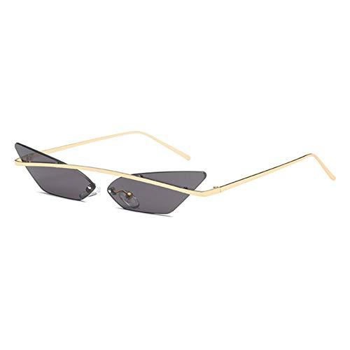 Siwen Neue einfache Frauen kleine cat Eye Sonnenbrille Mode randlose rot grün blau rosa spiegelgläser männer,Grau
