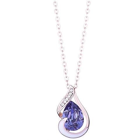 Galaxy Jewellery Anhänger Halskette mit Swarovski Tansanit Kristall Rose Gold überzogen - Ideal Geschenk für Frauen und Mädchen - kommt in (Opal Gold Überzogenes)