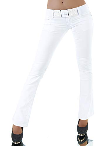 P119 Damen Jeans Hose Hüfthose Damenjeans Hüftjeans Bootcut Schlag Schlaghose, Farben:Weiß, Größen:36 (S)