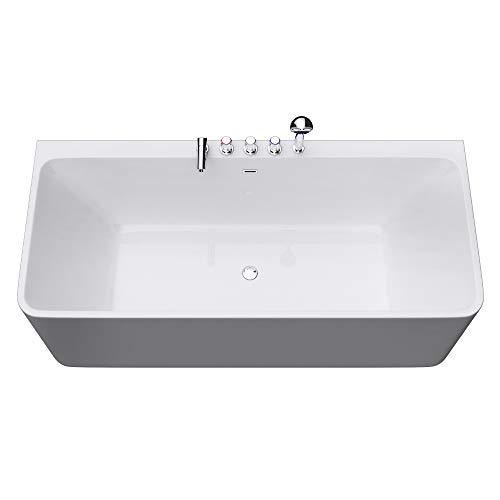 Freistehende Badewanne 180x80cm Sanitäracryl mit Armatur Standbadewanne V601MA Mai & Mai