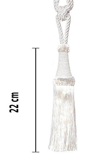 Mosel Avenue Art & Gobelin Studio Raffhalter 65 cm/Quaste 22 cm mit Kordel Farbe Weiß/Ecru/Schmuckquaste Gardinen Vorhang Gardinenhalter Quaste Halter für Gardinen Barock Design