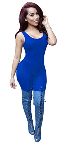 Womens Sexy Crew Neck sans manches élastique Backless Clubwear bandage Jumpsuit bleu marin