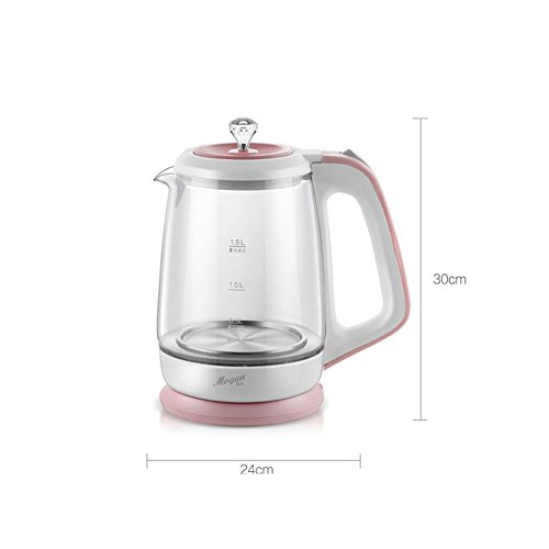 BCQ Glass Pot Body Electric Kettle Household Automatic Power Failure 304 Stainless Steel Heating Plate 1.5L 1200W Pink Electric Kettles