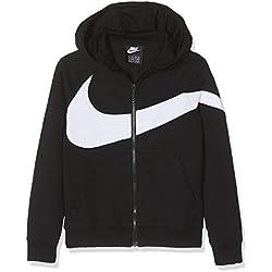 Nike B NSW HBR Hoodie FZ FT STMT Sweat-Shirt Garçon, Black White, FR : S (Taille Fabricant : S)