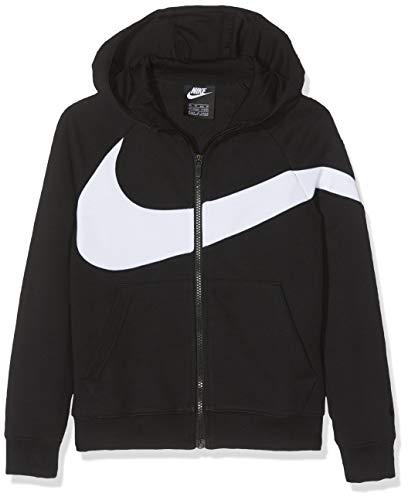 7602fa51c Nike Jungen B NSW HBR Hoodie FZ FT STMT Sweatshirt, Black/White, S