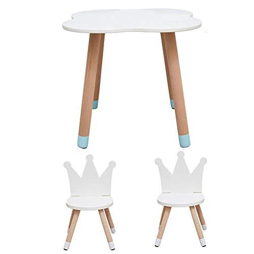 und Stuhl Set,Kleinkind Schlafzimmer Spielzimmer Cartoon-Stil Aktivität Tisch mit 2 Stühlen, Kinderzimmer-Möbel, weiß ()