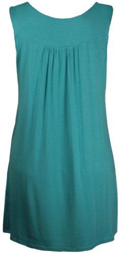 Purple Hanger - Débardeur Tunique T-shirt Long Femme Encolure Ronde Perles Clous Strass Sans Manche Grande Taille Neuf Vert menthe