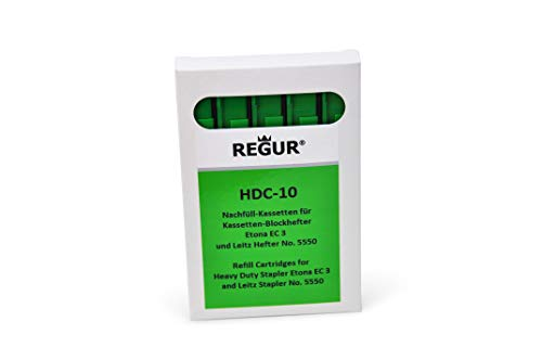 REGUR 5x grüne Heftklammern Nachfüll/Refill Kassetten HDC 10 (40-55 Blatt) für Etona EC3
