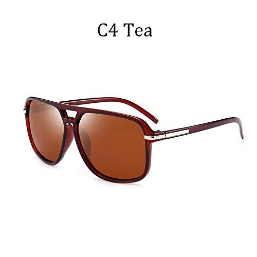 LIUYIAO Die kühle quadratische Art der Art- und Weisemänner polarisierte die Sonnenbrille, die Retro Markendesign-preiswerte Sonnenbrille fährt,C4