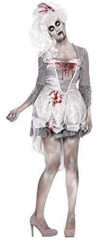 Zombie Party Kostüm - Smiffys, Damen Zombie im 18.Jahrhundert Kostüm, Kleid, Strumpfband und Haarschmuck, Größe: S, 61102