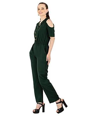 Karmic Vision Women's Crepe Green Casual Jumpsuit