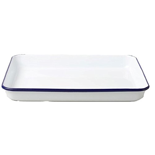 Falcon Enamelware Serving Tray (White with blue rim) - Serviertablett emaille Falcon Enamelware
