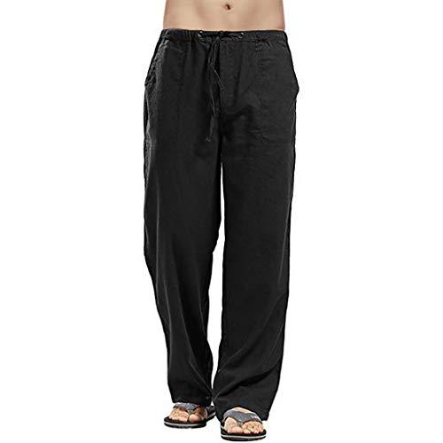 Men Casual Strandhosen Leinen Hose for Herren Leinen-Hose lange Hose bequeme Stoffhose aus hochwertiger Leinenmischung - Bequeme Fleece-trainingshose