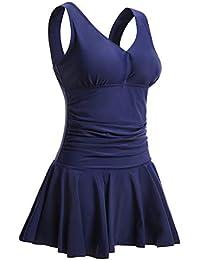 Summer Mae Damen Badekleid Plus Size Geblümt Figurformender Einteiler Badeanzug Swimsuit