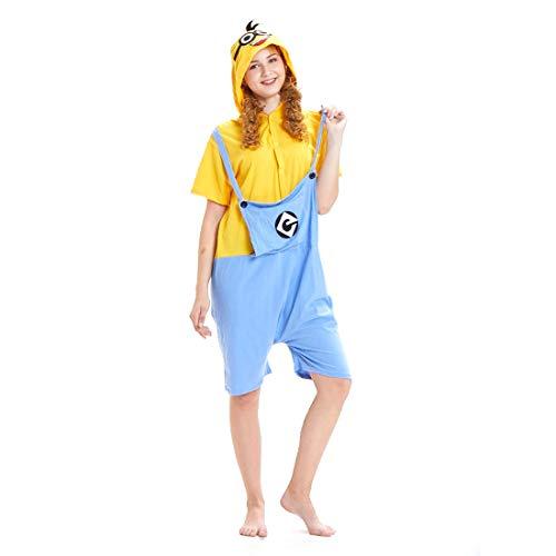 HOOLAZA Unisex Flanell Kurzarm Einteiler Hoodie Tier Pyjama Minion Cartoon Pyjamas Onesies Nachtwäsche Erwachsene Nachtwäsche Party Halloween Kigurumi Cosplay Kostüm Overall (Erwachsene Für Hoodie Minion)