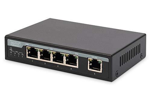 DIGITUS 5-Port 10/100Mbps Fast Ethernet Switch mit 4 PoE Ports Desktop Switch und 1 Uplink, 65 Watt -