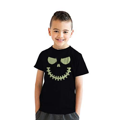 Youth Skeleton Zipper Pumpkin Face Tshirt Glowing Halloween Glow In The Dark Tee (Black) - M - Jungen - M ()