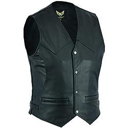 Leatherick Chaleco de piel para hombre con 4 bolsillos frontales, color negro