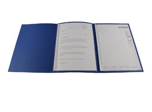 10 dreiteilige Bewerbungsmappen blau mit 2 Klemmschienen in feinster Lederstruktur