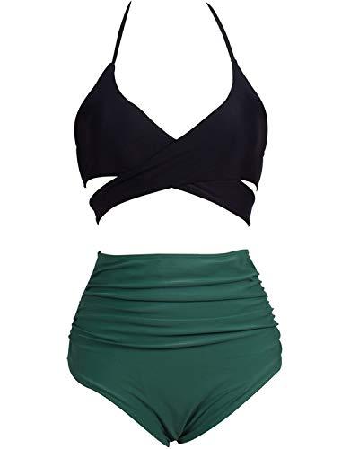 Eomenie Bikini Damen Set Retro Zweiteilige Badeanzug Bauchweg Damen Neckholder Punkt Blau Strandkleidung Triangel Oberteil Bandeau Strandmode