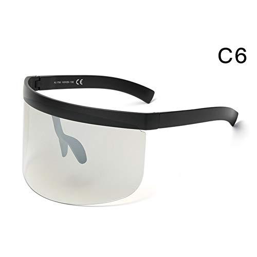 Taiyangcheng Übergroße Frauen randlose Sonnenbrille Coole Männer Flat Top Brille Shield Sonnenbrille,C6
