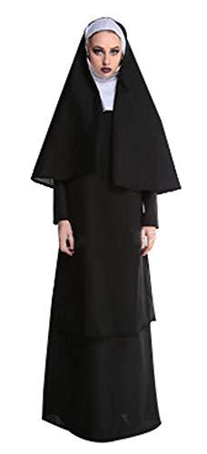 Papst Kapuze Kostüm - Zalock Damen Herren Halloween Kostüm Jesus Ostern Kleidung Schwarz Missionar Vater Papst Nun Cosplay