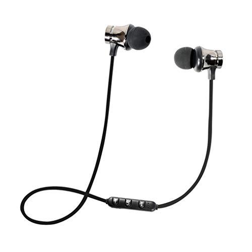 Dorical Bluetooth Kopfhörer, Kabellos Headset, BT 4.1 Stereo Kopfhörer Headset Kabellos Magnetisch Im Ohr Ohrhörer Kopfhörer Sale(Silber,One size)