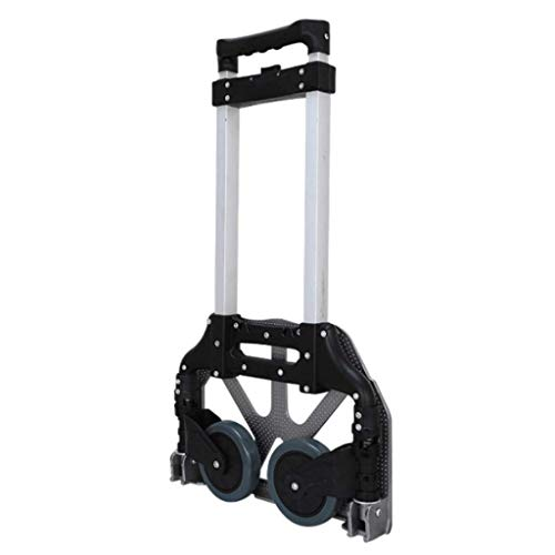 Trolley Shopping Cart Multi-Function Folding Aluminum Alloy Folding Bicycle Outdoor Large Capacity Mobile Home Office Trolley (Color : Black) (Vorne Rollstuhl Räder)