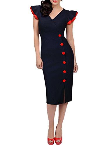 Miusol Damen Elegant Fluegelarme V-Ausschnitt Knoepfe Cocktailkleid Party Kleid Blau Groesse M