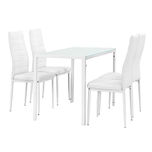 [en.casa]®] Juego de Comedor Moderno Mesa Blanca + 4 sillas Blancas Piel sintética