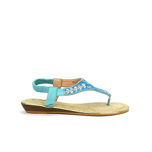 Cendriyon Tong Turquoise Perles CINK Me Chaussures Femme Turquoise