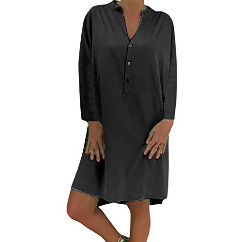 Damen Plue Größe Lose Solide Langarm Baumwolle Leinen Knielanges Kleid Langärmeliges, Einfarbiges Kleid In Übergröße Mit Losem Knopf -
