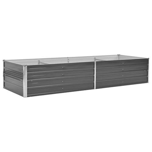 yorten Hochbeet Verzinkter Stahl Garten Pflanzgefäß Metall Pflanzbeet Hochbeet Grau 240 x 80 x 45 cm (L x B x H) Offene Unterseite