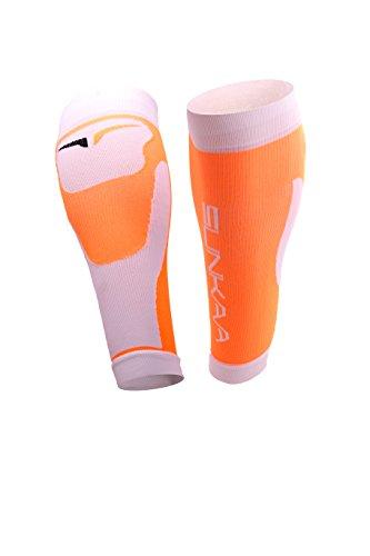 SUNKAA Herren Calf Sleeve Compression Wadenstrümpfe Socken, Orange, XS/S