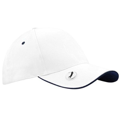 Beechfield - Cappellino da Golf - Unisex (Taglia unica) (Bianco/Blu navy)