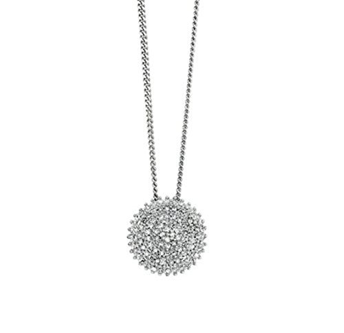 9ct White Gold Pave Diamond Disc Pendant and Necklace with 0.25ct Genuine Diamonds